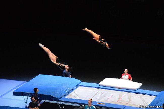 Синхронные прыжки на батутах