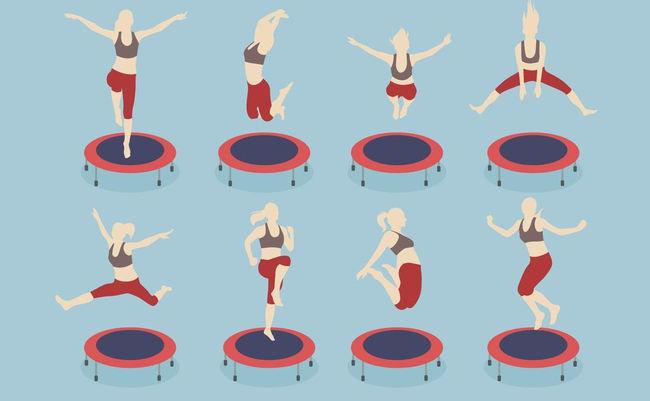 Упражнения на домашнем батуте